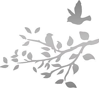 USC DECALS Bird On Tree Branch (Metallic Silver) (Set of 2) Premium Waterproof Vinyl Decal Stickers for Laptop Phone Accessory Helmet Car Window Bumper Mug Tuber Cup Door Wall Decoration