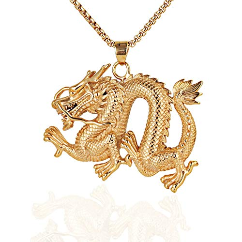 AmDxD Edelstahl Herren Halskette Drachen Form Design Edelstahlkette Herrenkette Gold