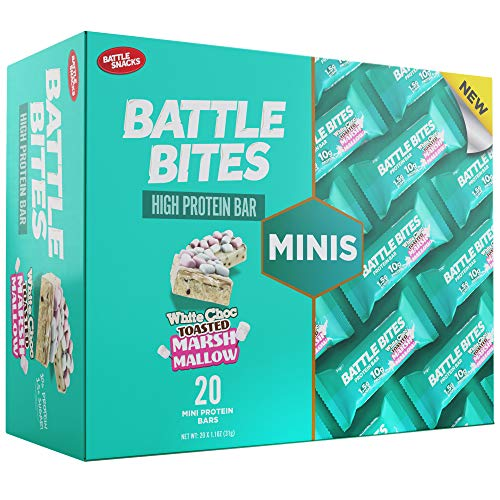 Battle Bites Minis High Protein and Low Carb Bars 31g (Pack of 20) (White Chocolate Toasted Marshmallow)
