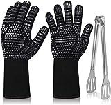 Guantes Barbacoa Guantes para Horno Extralargo BBQ Gloves 1472 °F Resistente Al Calor Guantes con Pinza para Barbacoa Guantes de Cocina para Cocina Parrilla Hornear Microondas (1 Par, Negro)
