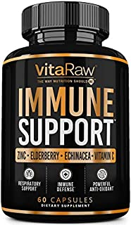 VitaRaw Immune Support Vitamins - Zinc, Elderberry, Vitamin C, Echinacea, Olive Leaf, Goldenseal | Powerful...