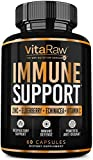VitaRaw Immune Support Vitamins - Zinc, Elderberry, Vitamin C, Echinacea, Olive Leaf, Goldenseal | Powerful Immunity Booster Capsules for Adults | Immune System Booster Supplement
