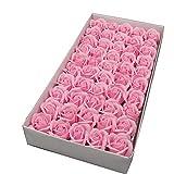 Jabón de baño perfumado con pétalos de rosa en una caja Ideal para bodas Regalos del día de San Valentín, hecho a mano, varios colores 50 pzas,Pink