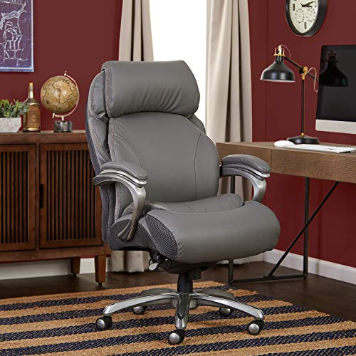 Serta Big and Tall Executive Office Chair with AIR Technology and Smart Layers Premium Elite Foam, Supports up to 400 Pounds, Bonded Leather - Gray