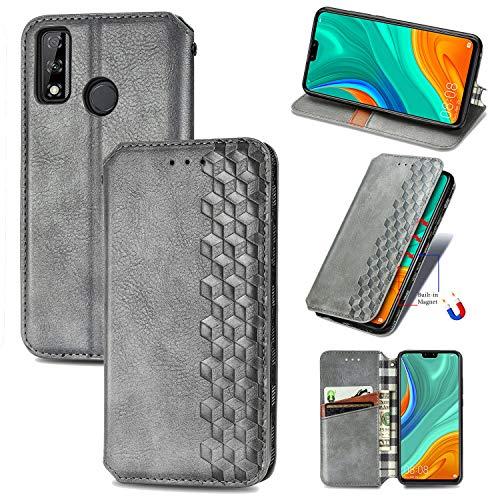 LODROC Huawei Y8s Hülle, TPU Lederhülle Magnetische Schutzhülle [Kartenfach] [Standfunktion], Stoßfeste Tasche Kompatibel für Huawei Y8s - LOSD0200405 Silber
