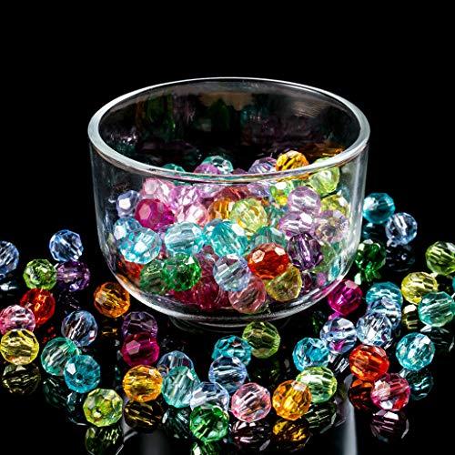 320 perlas de cristal de 10 mm, perlas de cristal facetadas, perlas de cristal multicolor, redondas, perlas sintéticas, multicolor, perlas surtidas, para manualidades, pulseras y joyas