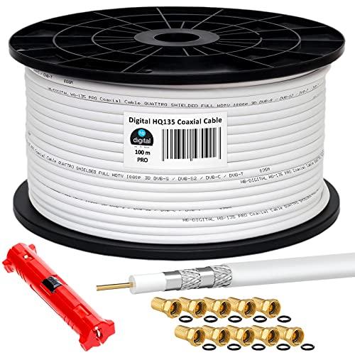 HB-DIGITAL HQ-135 PRO 100m 135dB SAT Cable coaxial blindado cuádruple incl. pelador...