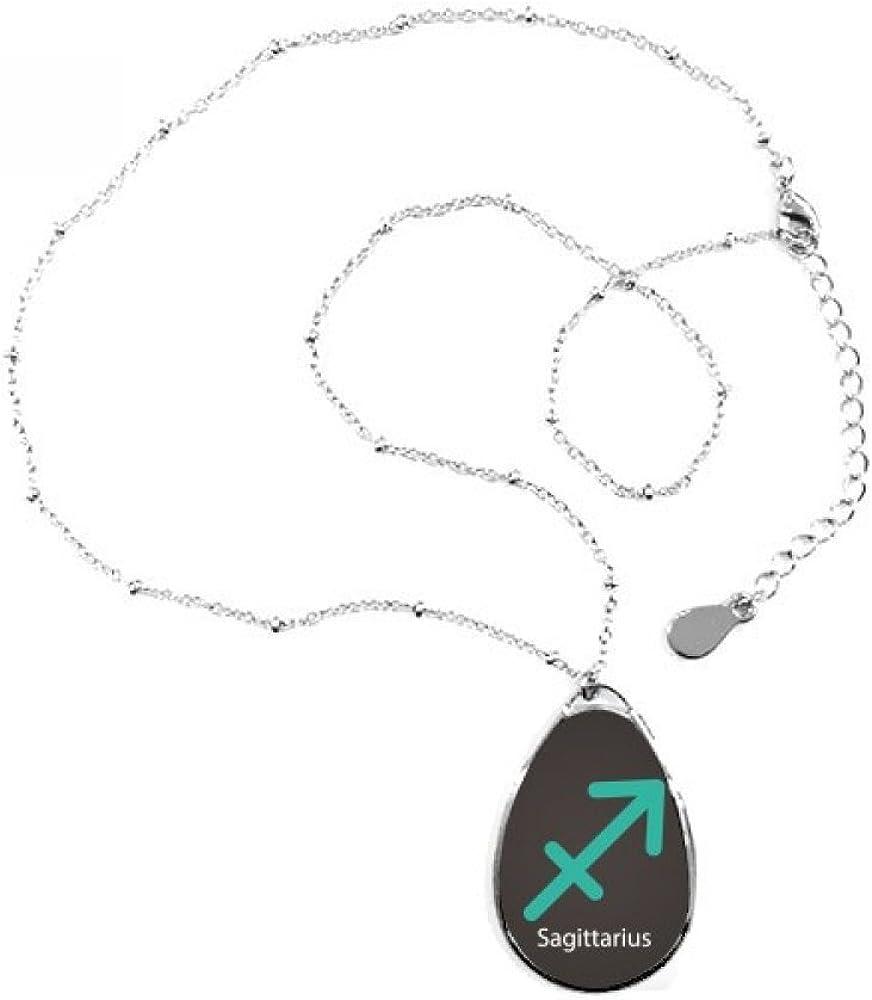 DIYthinker Collar con Colgante en Forma de lágrima de constelación de Sagitario de noviembre de diciembre con Cadena para decoración de Regalo