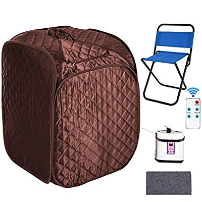 elifine Portable Steam Sauna Spa Home 2L Personal Therapeutic Sauna with Remote Control One Person Sauna Tent with Foldable Chair Timer