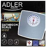 Adler Báscula de baño mecánica, sin Pilas, Gris, 27.2 x 26.5x 4.87 cm