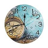 Gokruati 10 Inch Orologio da parete rotondo,orologio silenzioso senza ticchettio Orologio da parete piccolo orologio da tavolo per soggiorno di casa (vecchia bussola)
