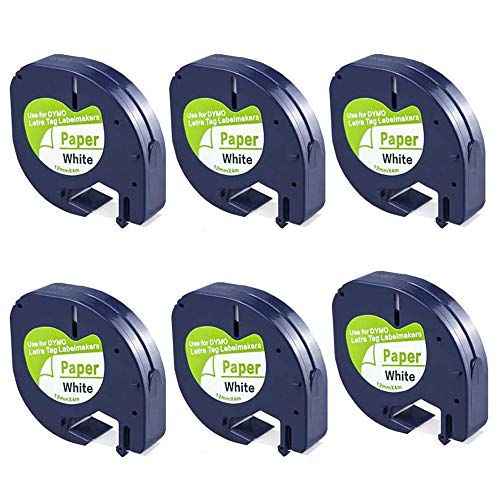 FlyLong 6pack Compatible Label Tape Replacement for DYMO Letratag 91330 Paper Refills 12mm x 4m (1/2 Inch x 13 Feet) Black on White Label Tapes 10697 for DYMO LetraTag Plus LT100H LT100T Label Makers