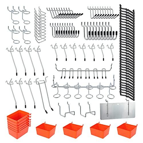 SHEENO 144 ganchos para tablero de clavijas surtidos con cubos de pegboard, bloqueos de clavija, para organizar varias herramientas para garaje, banco de trabajo, cocina