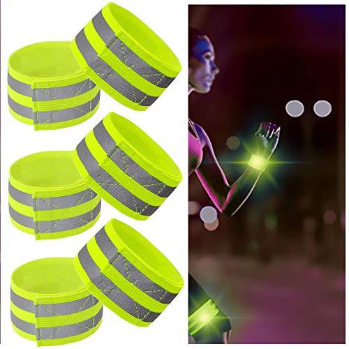 6 Piezas Pulseras Reflectantes Brazalete Reflectante Bandas Bandas Reflectantes Tiras Reflectantes de Alta Visibilidad para Correr Ciclismo Pasear Correr Ciclismo o Actividades Matutinas y Nocturnas