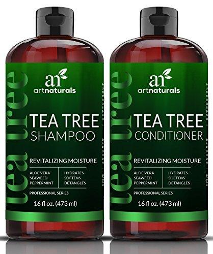 Art Naturals Juego de champú y acondicionador de aceite de árbol de té con aceite esencial de grado terapéutico para limpieza profunda de caspa, el cuero cabelludo seco y el cabello con picazón 473ml