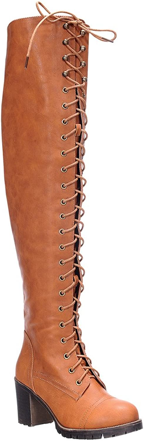 SHOEDEZIGNS Illusion 01 OK Womens Thigh High Lace UP Chunk Heel Combat Boots Tan 8.5