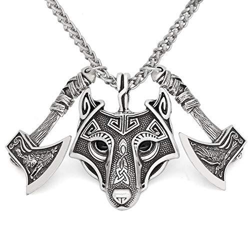 Viking Amulett Nordische Rune Odin Rabe Wolf Kopf Anhänger Halskette Mit Geschenk-Tasche