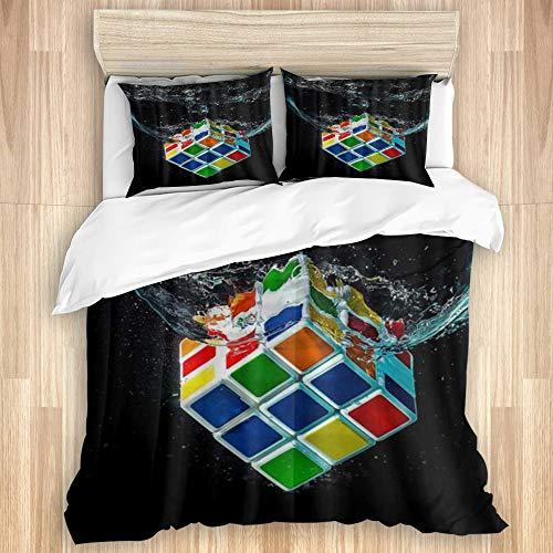 KISSENSU Funda Nórdica Cama,Agua Arte Digital Cubo Rubik Negro Clásico,Juego de Fundas de edredón y de Almohada de Microfibra,140 x 200 cm + 2 Fundas 50 x 80 cm