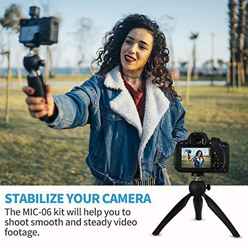 SAMTIAN Kamera Mikrofon Mobiles Mikrofone Video Camera Microphone Kit mit Stoßdämpferhalterung, Mini-Stativ für Kamera (Canon Nikon Sony), Handy für Vlogging YouTube Tik Tok
