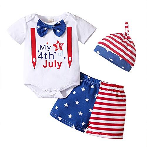 4 de julio Baby Boy Clothes My 1st 4th of Julio Romper+Pantalones cortos con bandera americana + sombrero de día de la independencia trajes de verano