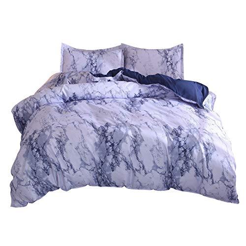 GODGETS Clocha Set, Funda de Edredón, Textura de mármol, Elegante y Exclusivo, con Funda de almahada, Cálido y Suave,Azul,[260 * 230] CM 3 Pics