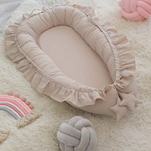 reducteur lit bebe,coussin bébé,Portable dentelle bionique lit enfant en bas âge coton berceau bébé berceau pare-chocs pliable dormeur Babynest nouveau-né voyage lit pare-chocs(Beige)