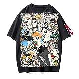 ZOSUO Unisexo Camiseta Haikyuu!! Karasuno Koukou Estampada Verano Corta Blusa T-Shirt Cuello Redondo Jersey Informal Suelto Verano Streetwear,H,S