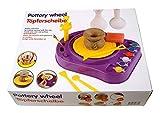 Eddy Toys Kinder TÖPFERSCHEIBE,Set mit Ton+Modellierspatel+Farben+Pinsel+Schwamm -