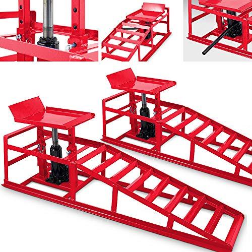 BITUXX® 2 Stück Auto PKW KFZ Auffahrrampen Set mit Wagenheber hydraulisch Höhenverstellbar Wartungsrampe Hebebühne Rampe Auffahrrampe Auffahrbock in Rot