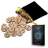 wiccan star 25 de Madera runas Piedra Bolsa Set con diseño y Significado pergamino (en inglés)