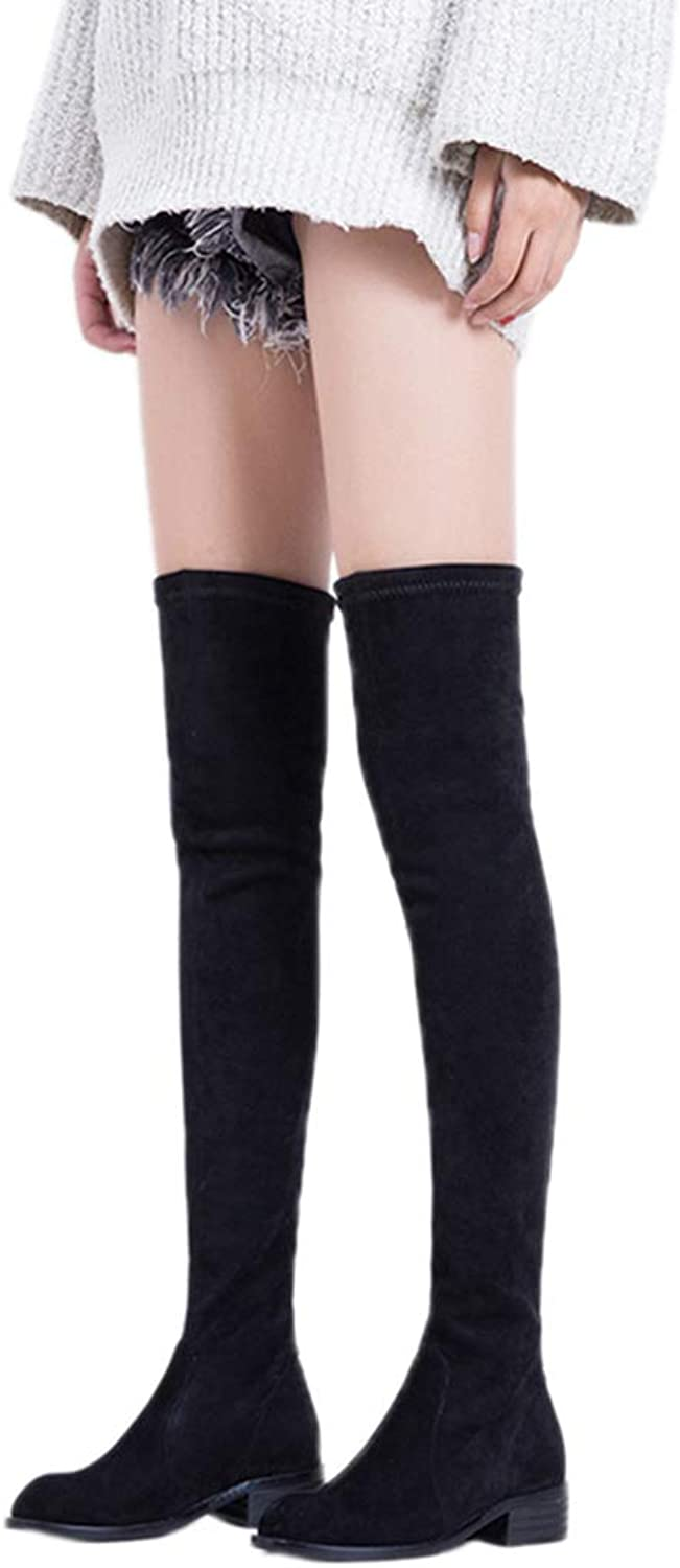 GEORPE Suede Leather Stretch Zip Over The Knee Boots Flats Long Slim Boots