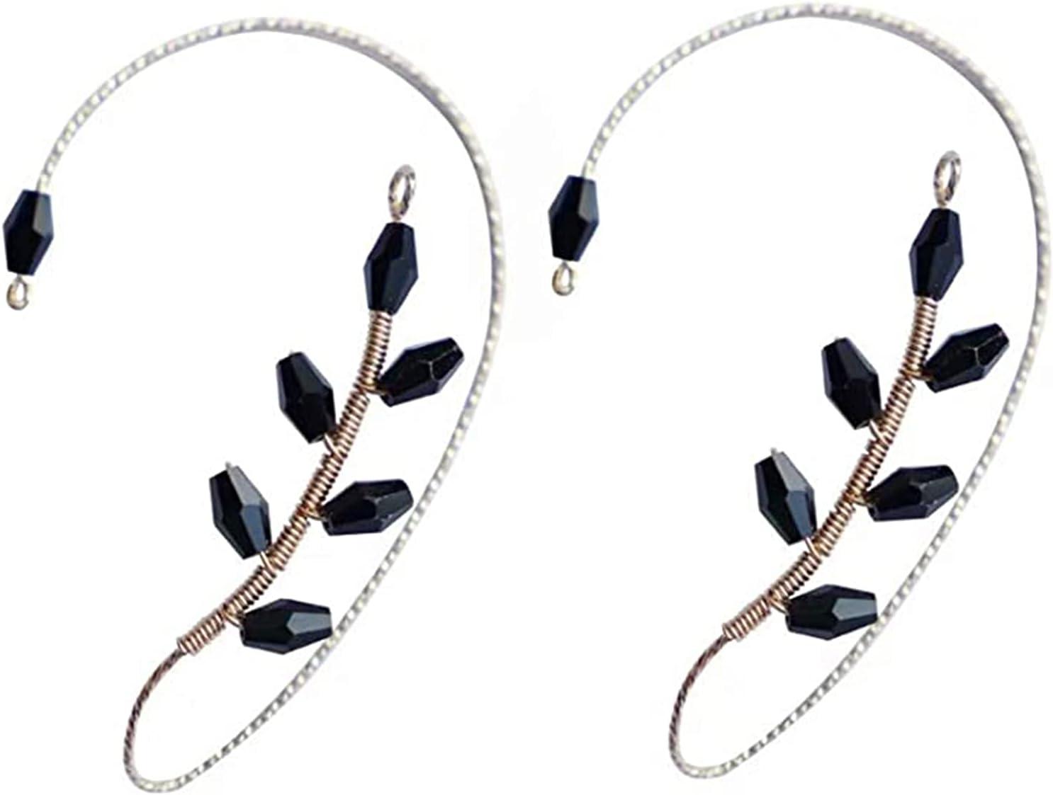 NiXing 1 Pair Vintage Ear Cuff Earrings Elegant Crystal Pearl Design Earrings for Women and Girls