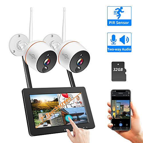 【Two-Way Audio】 Wireless Security Camera System with 7'' Touchscreen Monitor,Hiseeu 4ch Home Security Camera System,2pcs 1080P Indoor/Outdoor Security Camera,PIR Motion Detection,32GB SD Preinstalled