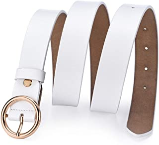 LUKEEXIN Soft Leather Belt for Jeans Shorts Waist Straps with Metal Buckle (Color : White)