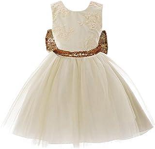 65da4c56d608a BOZEVON Filles Baptême Robes de Mariage - Nouveau-né bébé Tout Petit Filles  Paillettes Bowknot