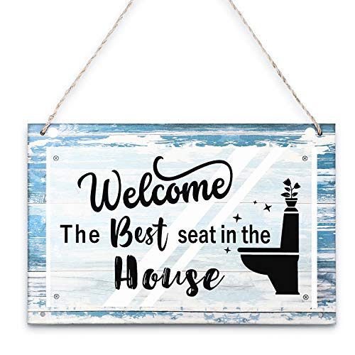 The Best Seat in the House Restroom Decoration Welcome Wooden Sign, Funny Bathroom Decor Wall Art Sign Rustic Wood Plaque for Toilet Home House