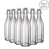 Bormioli Rocco Oxford Clear Wine Water Table Serving Swing Top Bottle - 1000ml - Pack of 6