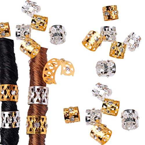 Cuhair Haarclips, Haarspange, Dreadlock-Perlen, 30 Stück (15 silberfarben, 15 goldfarben), Haaraccessoire für Damen