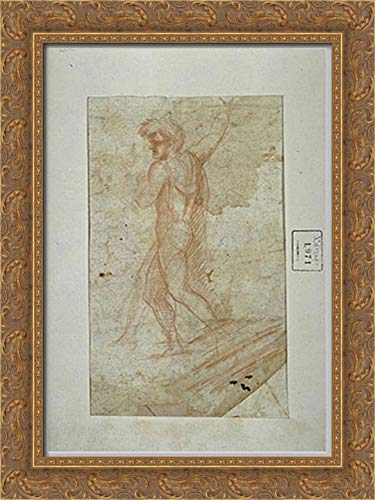 Standing Man 18x24 Gold Ornate Wood Framed Canvas Art by Paolo Uccello