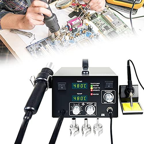 FRIBLSKEL Estación Soldadura Pistola Aire Caliente 2 En 1 650W Estación Desoldadora Pantalla Digital LED/Ruido Bajo/Calentar Rápido/Temperatura Ajustable Eléctrico Soldador