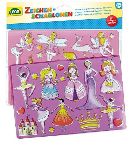 Lena 65766 - Zeichenschablonen Set Prinzessinnen und Elfen, mit 2 Schablonen mit Motiven und Farbvorlagen zu Prinzessinnen und Feen, Malschablonen je ca. 26 x 19 cm, Malset für Kinder ab 3 Jahre