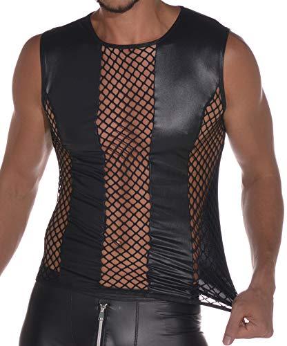 Latex ähnliches Herren Top - Shirt 0/0 Arm mit Fischnetz Einsätzen (XL)