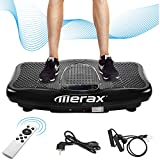 Merax Vibrationsplatte Profi mit 1 Kraftvoller motoren 2D Wipp Vibration/Bluetooth Musik inkl. Lautsprecher Extra große Fläche/Trainingsbänder/Fernbedienung im Fitnessgerät (schwarz)