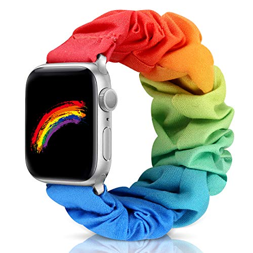 Compatible with Apple Watch Band 38mm 42mm 40mm 44mm iWatch Series 6 SE 5 4 3 2 1 Scrunchie Elastic Watch Band for Apple Watch(Rainbow-42mm/44mm/S)