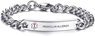 Free Engraving-Mens Womens 8MM Stainless Steel ID Tag Medical Alert Emergency Bracelet,8 inches