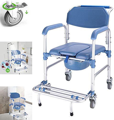 Commode Chair 4 in 1 With Wheeled Wheelchair Shower Transport Chair /4 Wheel Brakes(360°)/Foldable Mobile Toilet Elderly Disabled Person