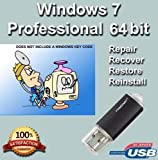 9th & Vine USB Compatible With Windows 7 Professional 64 bit. Install To Factory Fresh, Recover, Repair and Restore Boot Disc. Fix PC