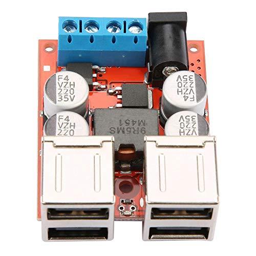 Hyuduo DC-DC-omvandlare, spänning strömförsörjning bockmodul 12 V 24 V 8-35 V till 5 V 8 A 4 USB-utgång billaddare regulator