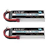 HRB 2 Paquetes 11.1V 5000mAh 3S 50C Lipo RC Batería con Deans T Conector para Traxxas RC Cars Slash vxl Slash 4x4 vxl E-maxx Brushless Axial e-revo Brushless y Spartan Models