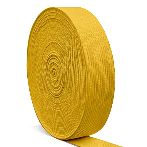 Elastic Bands for Sewing 1 Inch, Hengiee Braided Elastic for Wigs, Waistband, Skirt, Pants, Headband, Bed Sheets, Kids Clothes, Craft DIY Projects(Gold, 12 Yard)